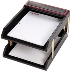 Wood and Leather Double Front Load Letter Trays - Rosewood and Black