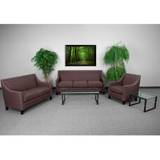 HERCULES Compass Series Transitional Brown Fabric Set with Walnut Legs