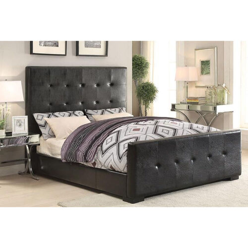 Lorelei Button Tufted Faux Leather Bed - Queen - Black