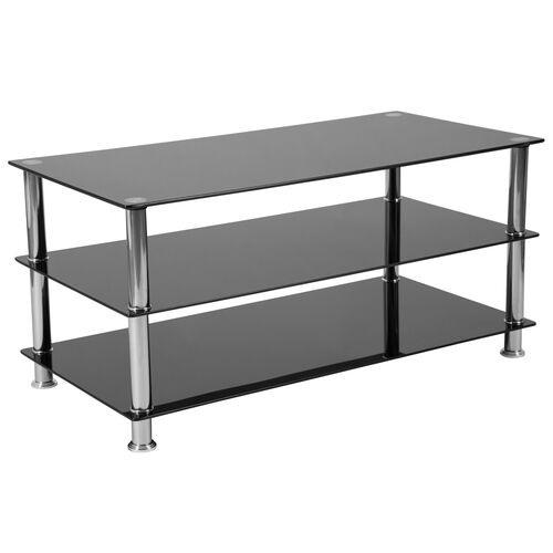 Our Riverside Collection Black Glass TV Stand with Stainless Steel Frame is on sale now.