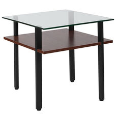 West End Collection Glass End Table with Walnut Finish Shelf