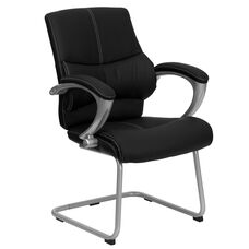 Black Leather Executive Side Reception Chair with Silver Sled Base