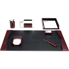Contemporary Leather 7 Piece Desk Set - Burgundy