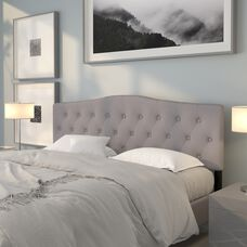 Cambridge Tufted Upholstered King Size Headboard in Light Gray Fabric