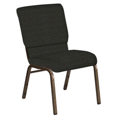 Embroidered 18.5''W Church Chair in Cobblestone Pewter Fabric - Gold Vein Frame