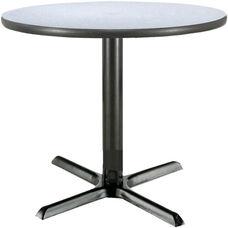 36'' Round Laminate Pedestal Table with Grey Nebula Top - Black Arch X-Base