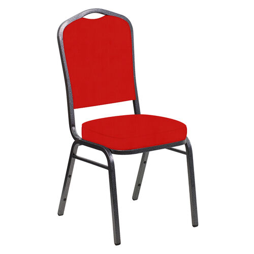 Our Embroidered E-Z Sierra Torch Red Vinyl Upholstered Crown Back Banquet Chair - Silver Vein Frame is on sale now.