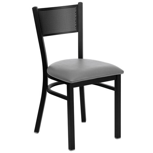 Our Black Grid Back Metal Restaurant Chair with Custom Upholstered Seat is on sale now.