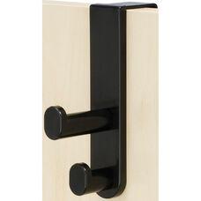 Over the Door Double Hook - Set of Six - Black