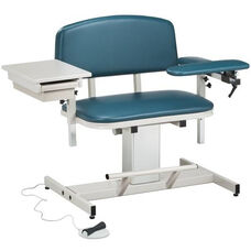 Hands Free Adjustable Power Series Extra Wide Blood Drawing Chair with Padded Flip Arm and Drawer