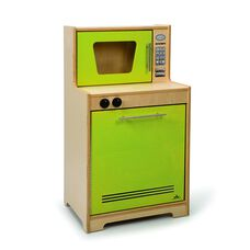 Kids Contemporary Play Dishwasher and Microwave in Vibrant Green Birch Plywood