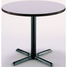30'' Round Laminate Pedestal Table with Grey Nebula Top - Black X-Base