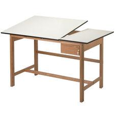 Titan II Solid Oak Drafting Table Split-Top
