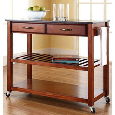 Solid Black Granite Top Kitchen Island Cart - Classic Cherry Finish