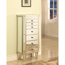 Mirrored Jewelry Armoire Wood - Silver