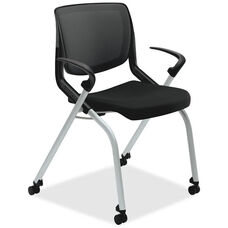 The HON Company Motivate Seating Nesting Flex-Back Stacking Chair with Arms and Casters - Black