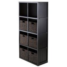 7-Pc Shelf Set - 4 x 2 Cube Wainscoting Panel Shelf with 6 Foldable Baskets