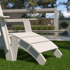 Sawyer Modern All-Weather Poly Resin Wood Adirondack Ottoman Foot Rest in White
