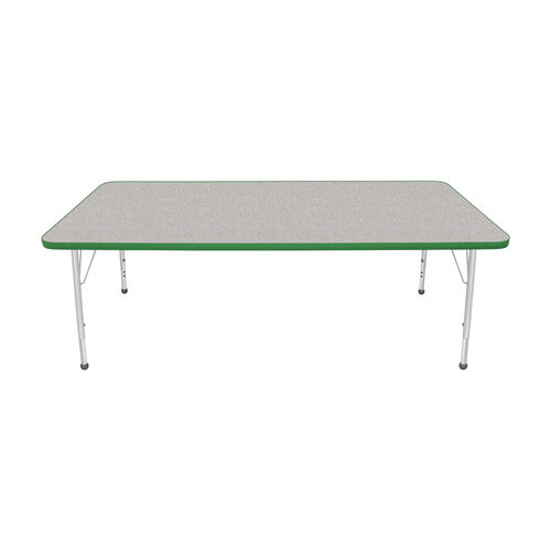 Our Adjustable Standard Height Laminate Top Rectangular Activity Table - Nebula Top with Dustin Green Edge and Legs - 72
