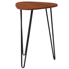 Charlestown Collection Cherry Wood Grain Finish End Table with Black Metal Legs