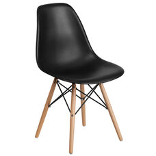Elon Series Black Plastic Chair with Wooden Legs