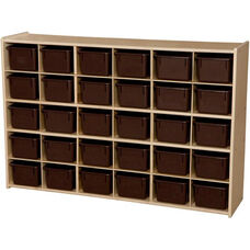 Contender Wooden Tray Storage Unit with 30 Chocolate Plastic Trays - Assembled with Casters - 50.75