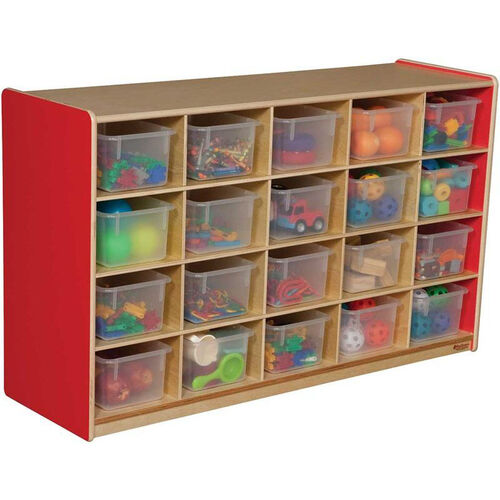 Wooden Mobile Storage Unit with 20 Clear Plastic Trays - Strawberry - 48