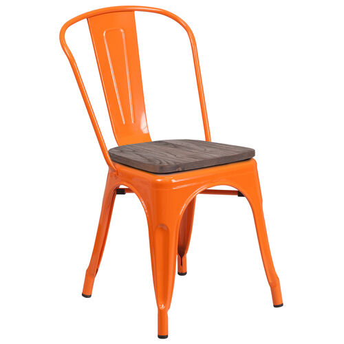 Our Orange Metal Stackable Chair with Wood Seat is on sale now.
