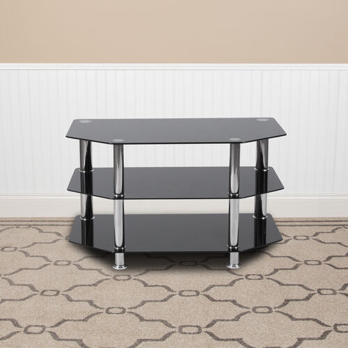 Our North Beach Black Glass TV Stand with Stainless Steel Metal Frame is on sale now.