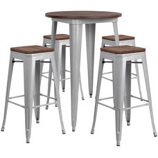 "30"" Round Silver Metal Bar Table Set with Wood Top and 4 Backless Stools"