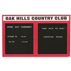 2 Door Outdoor Illuminated Enclosed Directory Board with Header and Red Anodized Aluminum Frame - 36