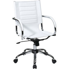 Ave Six Trinidad Vinyl Contoured Seat Office Chair with Chrome Base and Casters - White