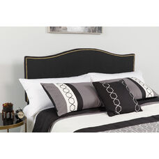 Lexington Upholstered Full Size Headboard with Accent Nail Trim in Black Fabric