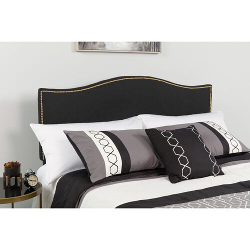 Our Lexington Upholstered Full Size Headboard with Accent Nail Trim in Black Fabric is on sale now.