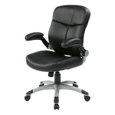 Work Smart Executive Mid Back Eco Leather Chair with Adjustable Padded Flip Arms and Silver Finish Base - Black