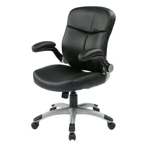Our Work Smart Executive Mid Back Eco Leather Chair with Adjustable Padded Flip Arms and Silver Finish Base - Black is on sale now.
