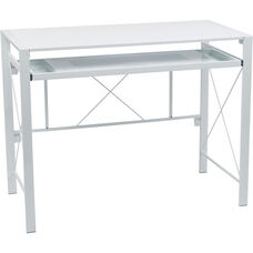 OSP Designs Creston Powder Coated Frame Desk with Pullout Keyboard Tray and Storage Compartments - White