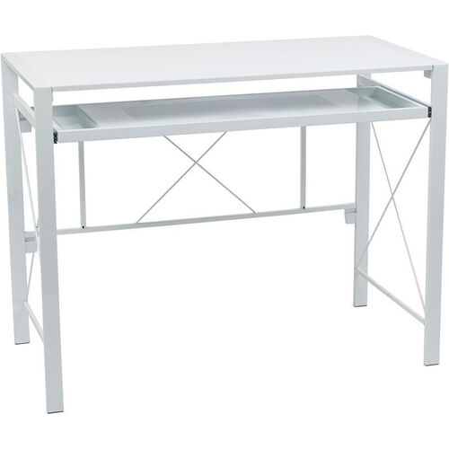 Our OSP Designs Creston Powder Coated Frame Desk with Pullout Keyboard Tray and Storage Compartments - White is on sale now.