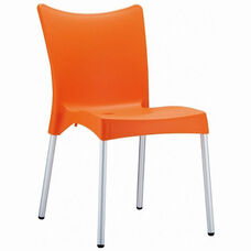 Juliette Outdoor Resin Stackable Dining Chair with Aluminum Legs - Orange