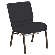 Embroidered 21''W Church Chair in Illusion Chic Silver Fabric with Book Rack - Gold Vein Frame