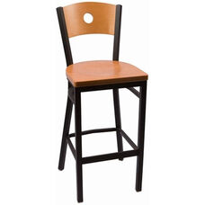 Circle Series Wood Back Armless Barstool with Steel Frame and Wood Seat - Natural