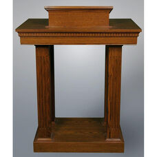 Stained Red Oak Open Pulpit with Square Fluted Column Legs