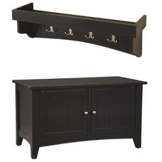 Shaker Cottage Hall Tree Set with Tray Top and Storage Bench - Black