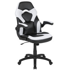 High Back Racing Style Ergonomic Gaming Chair with Flip-Up Arms, White/Black LeatherSoft
