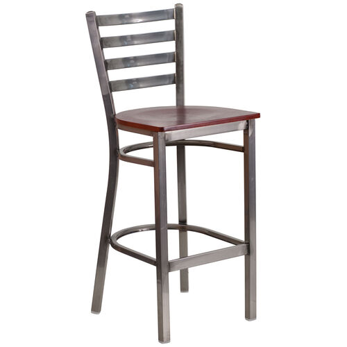 Our Clear Coated Ladder Back Metal Restaurant Barstool with Mahogany Wood Seat is on sale now.