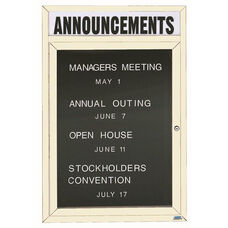 1 Door Indoor Enclosed Directory Board with Header and Ivory Anodized Aluminum Frame - 48