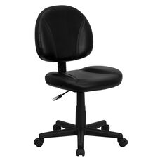 Mid-Back Black Leather Ergonomic Swivel Task Chair