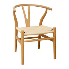 W Natural Finish Wood Side Chair with Natural Rattan Seat
