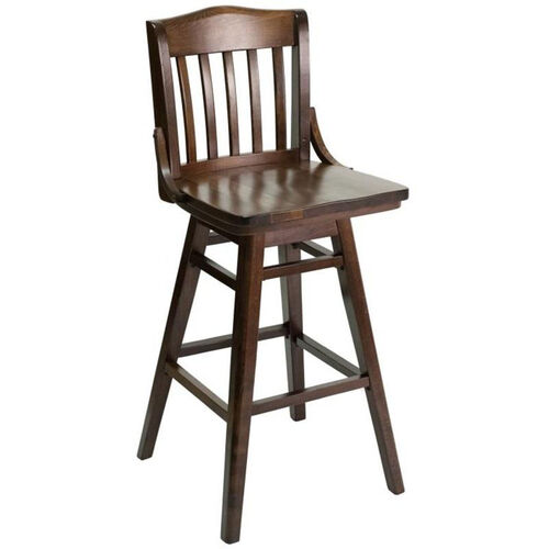 Classic Indoor Collection Beechwood Slat Full Back Barstool with Swivel Seat - Walnut