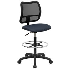 Mid-Back Navy Blue Mesh Drafting Chair